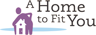 A Home to Fit You Logo: graphic of human with home under there arm.